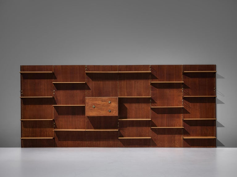 Finn Juhl for Bovirke, wall unit, model 'BO71', teak, pine, brass, Denmark, 1950s