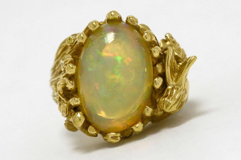 Large Fire Opal Fairy Dome Cocktail Ring Gold Wood Nymph