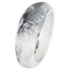 Large Fit Resin Large Organic Bangle in White Marble