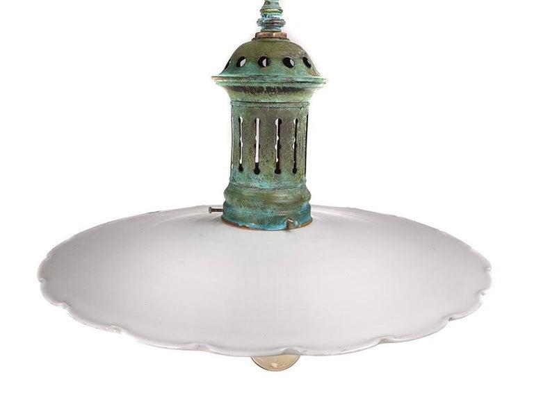 American Large Flat Scalloped Edge Milk Glass 4-Light Chandelier, Pair For Sale