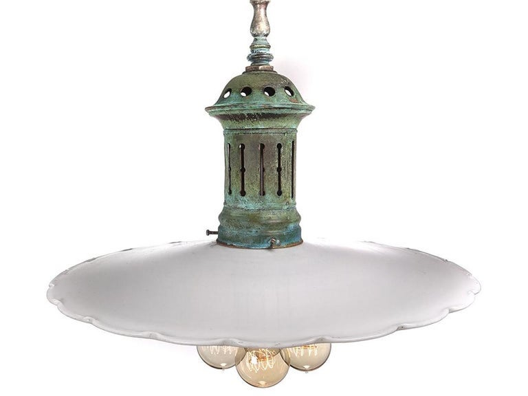 Large Flat Scalloped Edge Milk Glass 4-Light Chandelier, Pair In Good Condition For Sale In Peekskill, NY