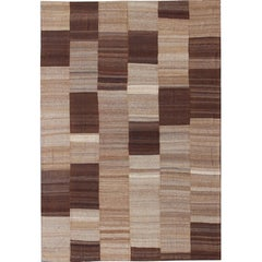 Large Flat Weave Kilim in Six Panels of Dark Brown, Light Brown, Taupe & Khaki