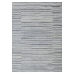 Large Flat Weave Kilim in Variegated Striped With Modern Design