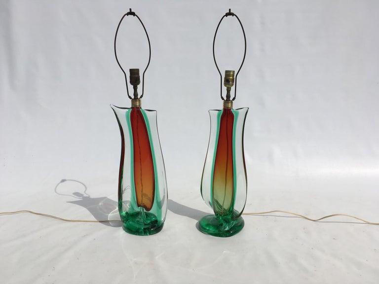 Large Flavio Poli Table Lamps for Seguso Murano Glass, Italy For Sale 3