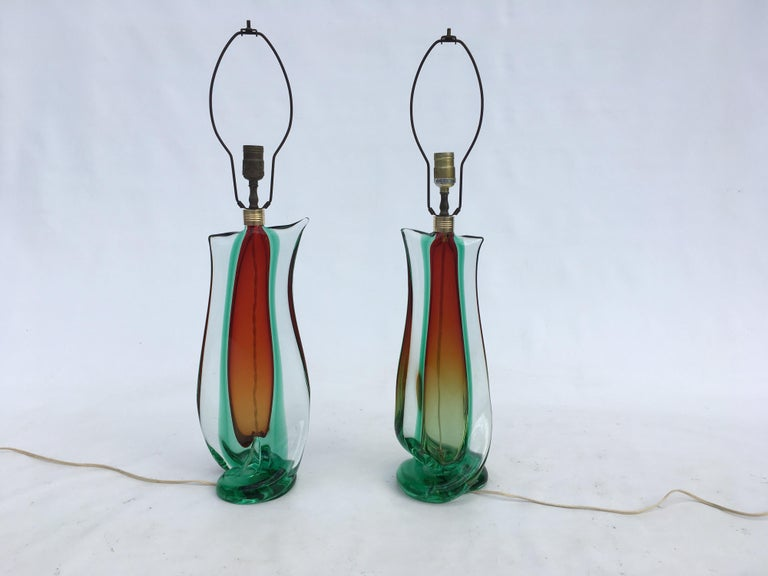 Large Flavio Poli Table Lamps for Seguso Murano Glass, Italy, Mid-Century Modern 13