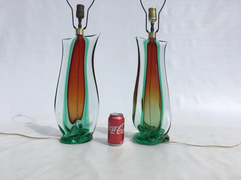 Large Flavio Poli Table Lamps for Seguso Murano Glass, Italy, Mid-Century Modern In Good Condition In Opa Locka, FL