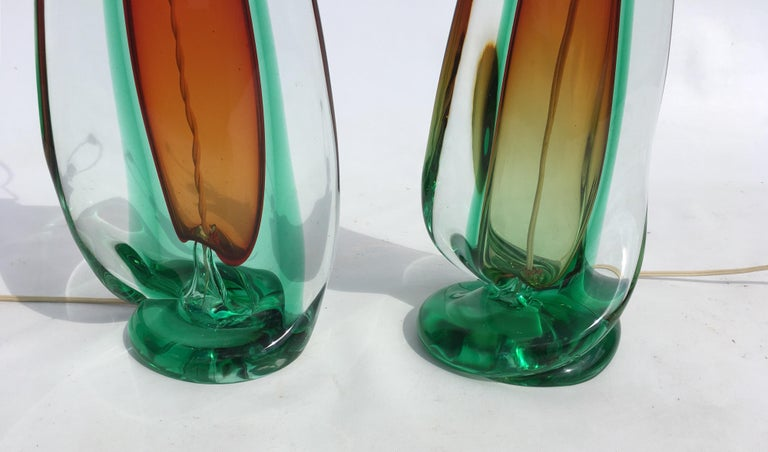 Large Flavio Poli Table Lamps for Seguso Murano Glass, Italy, Mid-Century Modern 5