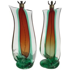 Large Flavio Poli Table Lamps for Seguso Murano Glass, Italy