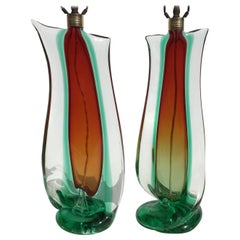 Large Flavio Poli Table Lamps for Seguso Murano Glass, Italy, Mid-Century Modern