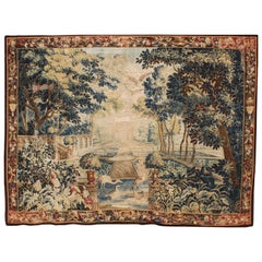 "Large Flemish 17th-18th Century Baroque Pictorial Tapestry ""the Royal Garden"""