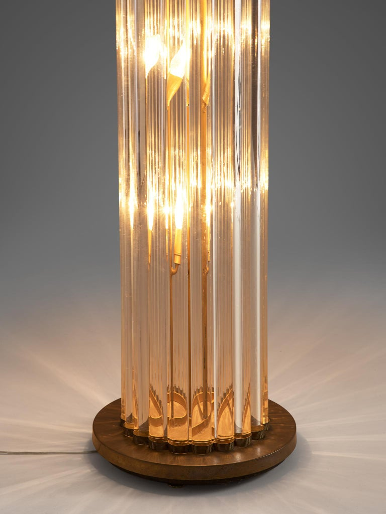Mid-Century Modern Large Floor Lamp in Glass and Brass For Sale