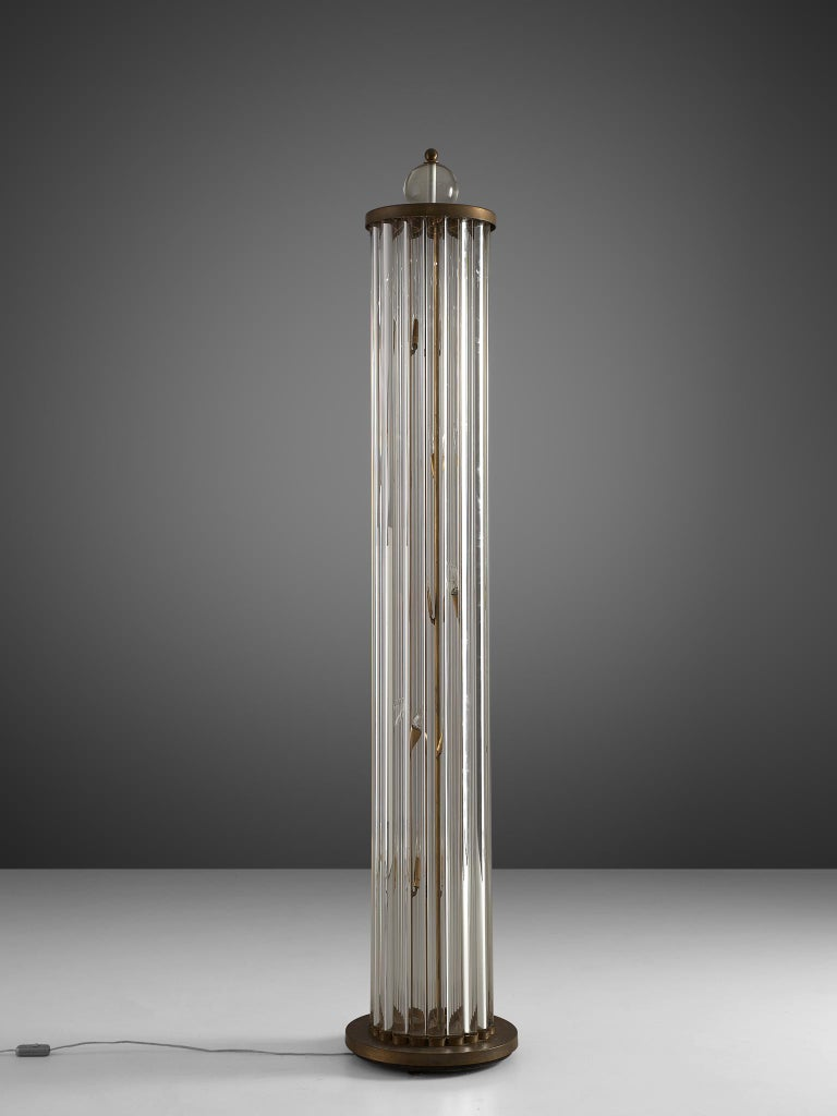 Metal Large Floor Lamp in Glass and Brass For Sale