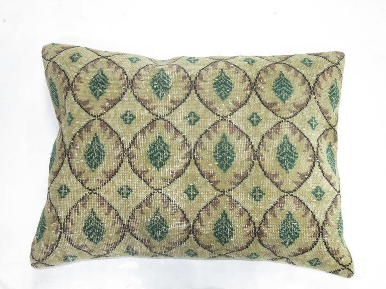 Black Forest Large Floor Size Vintage Beige Green Muave Accent Turkish Rug Pillow For Sale