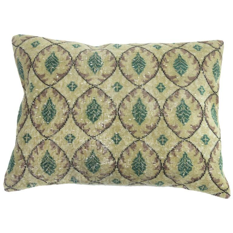 Large Floor Size Vintage Beige Green Muave Accent Turkish Rug Pillow For Sale