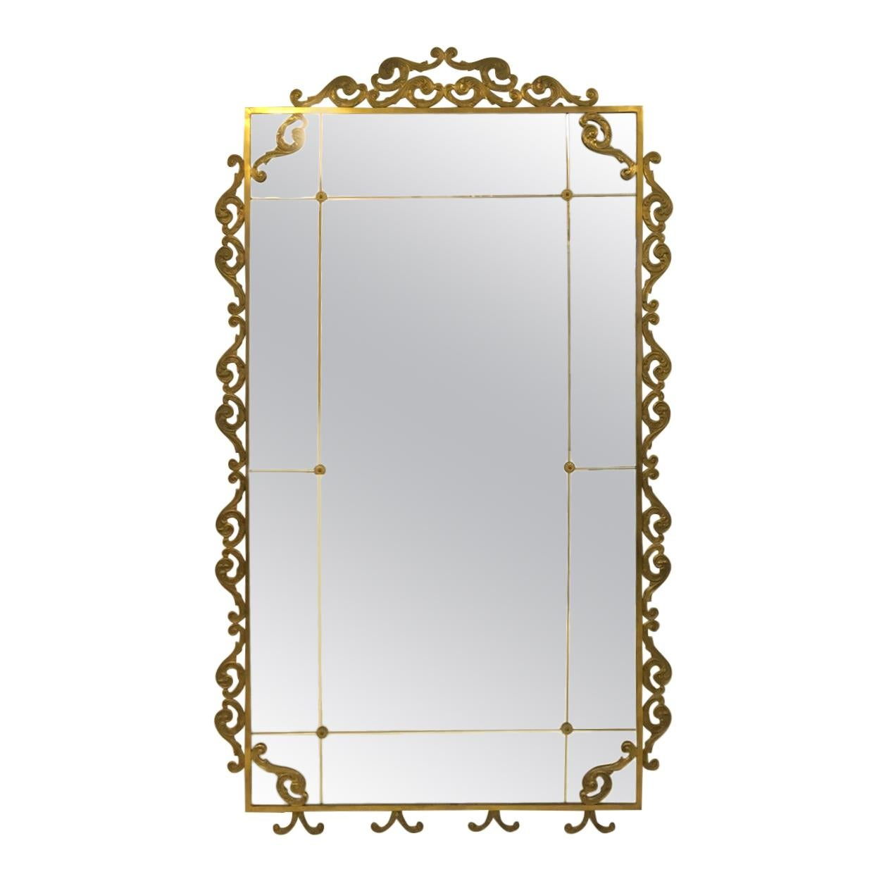 Large Floor Standing 1940s Italian Brass Mirror
