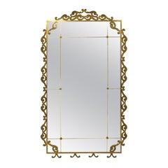Large Floor Standing 1940s Italian Brass Mirror