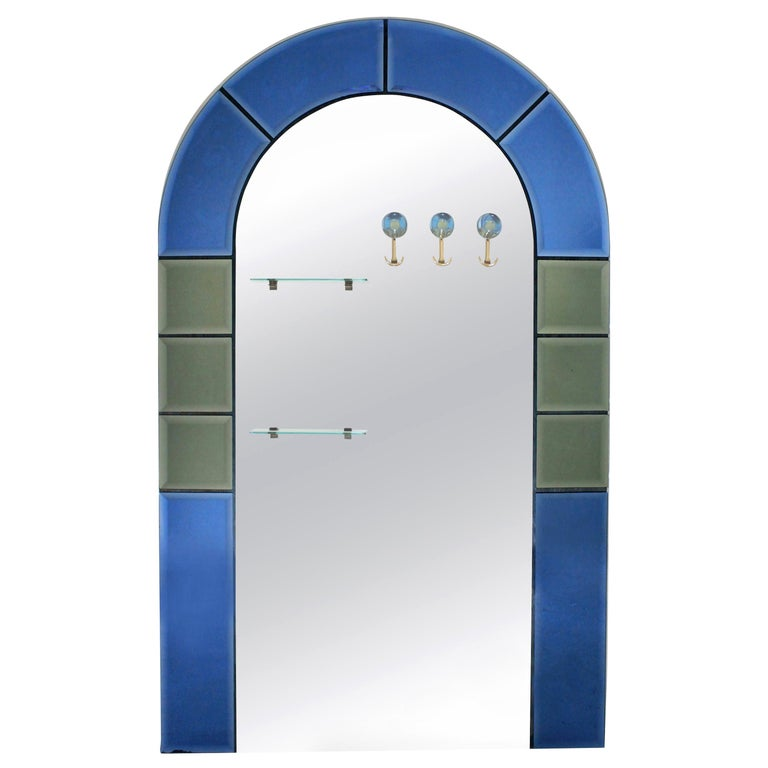 Large Floor Standing Hall Mirror with Coat Hooks