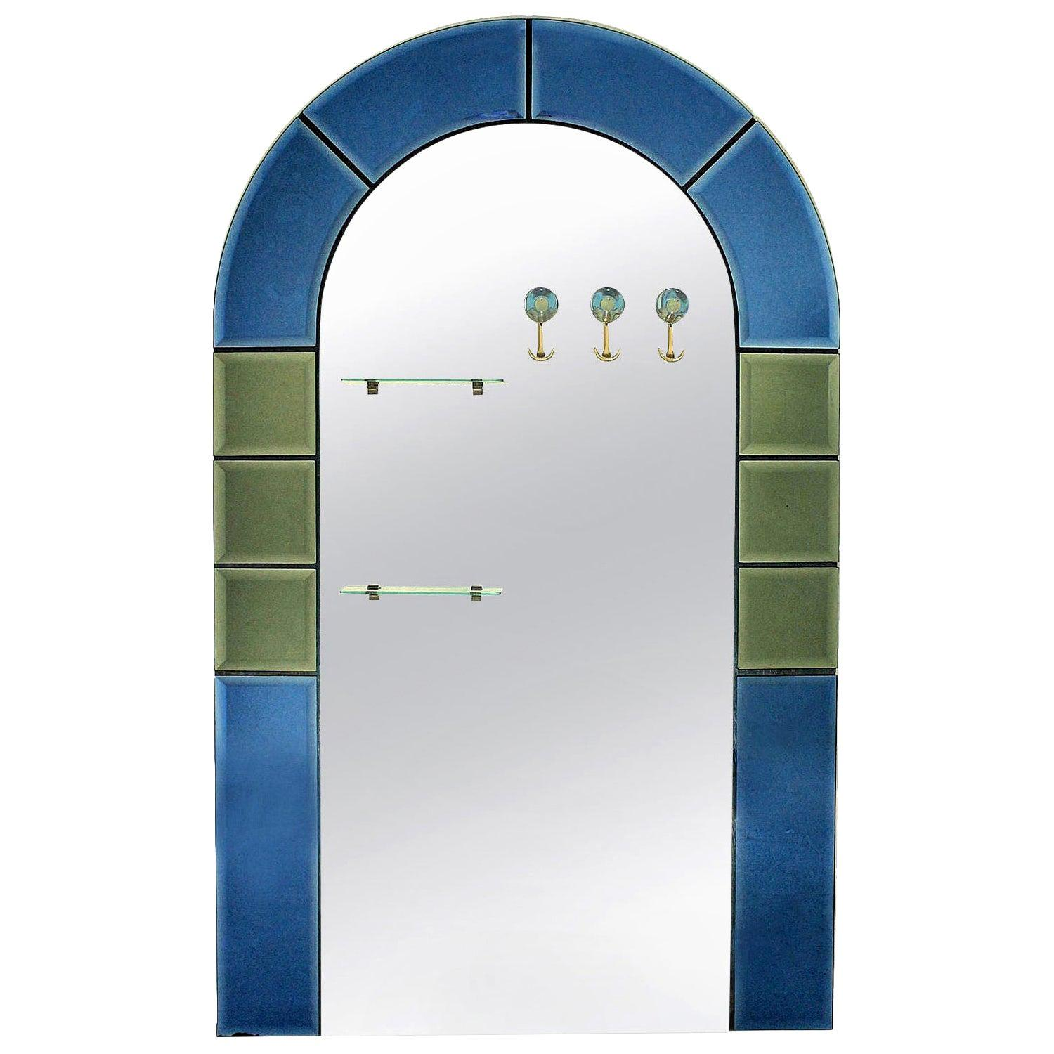 Large Floor Standing Hall Mirror with Coat Hooks