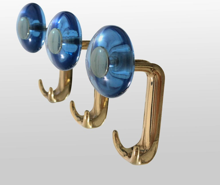 Mid-Century Modern Large Floor Standing Hall Mirror with Coat Hooks in Blue Glass