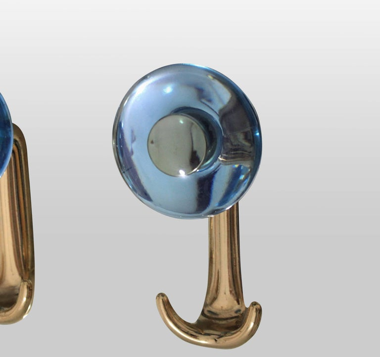Italian Large Floor Standing Hall Mirror with Coat Hooks in Blue Glass