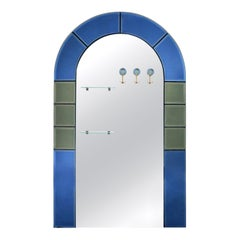 Large Floor Standing Hall Mirror with Coat Hooks in Blue Glass