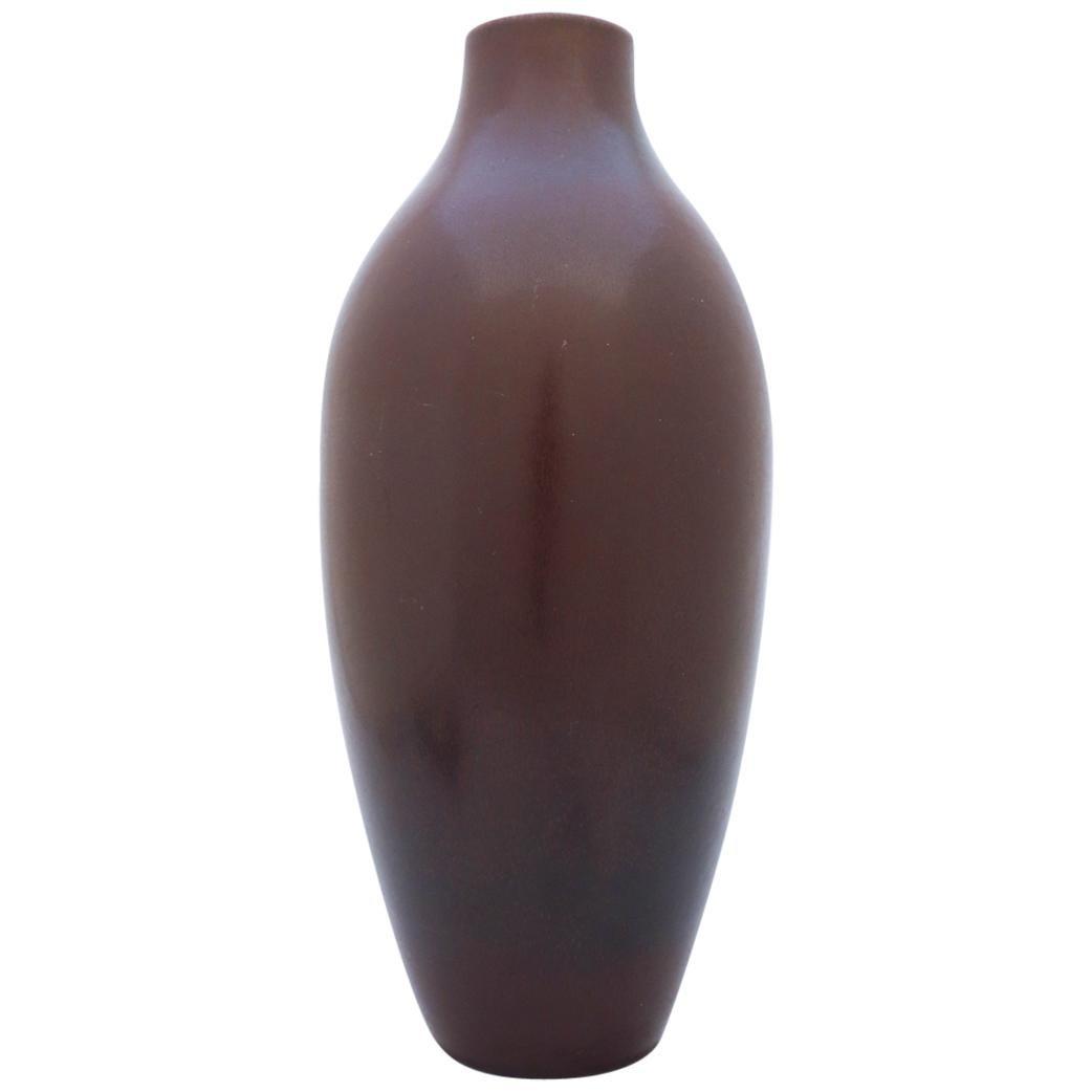 Large Floor Vase, Carl-Harry Stålhane, Rörstrand 1950s, Brown Stoneware