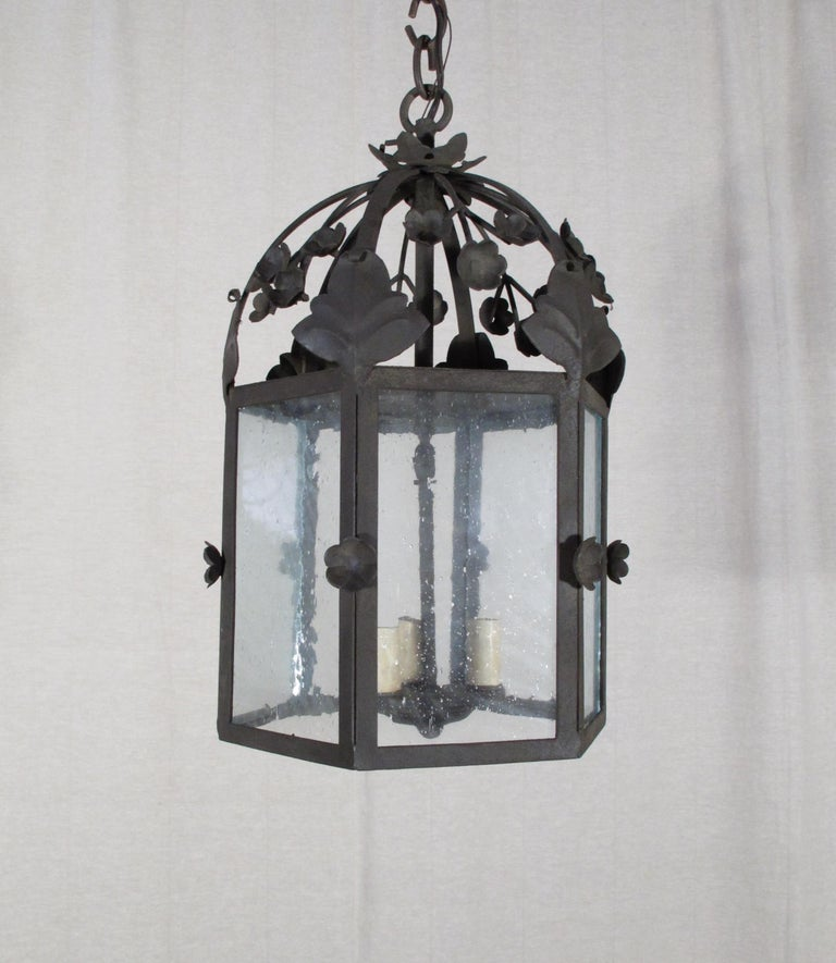 American Large Floral Iron Lantern For Sale