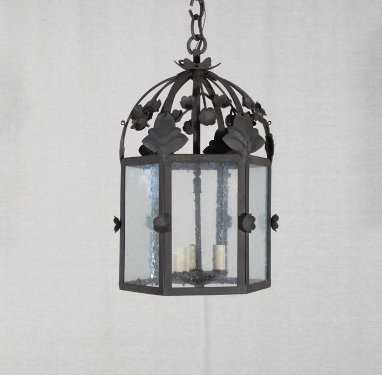 Large Floral Iron Lantern In New Condition For Sale In Encinitas, CA