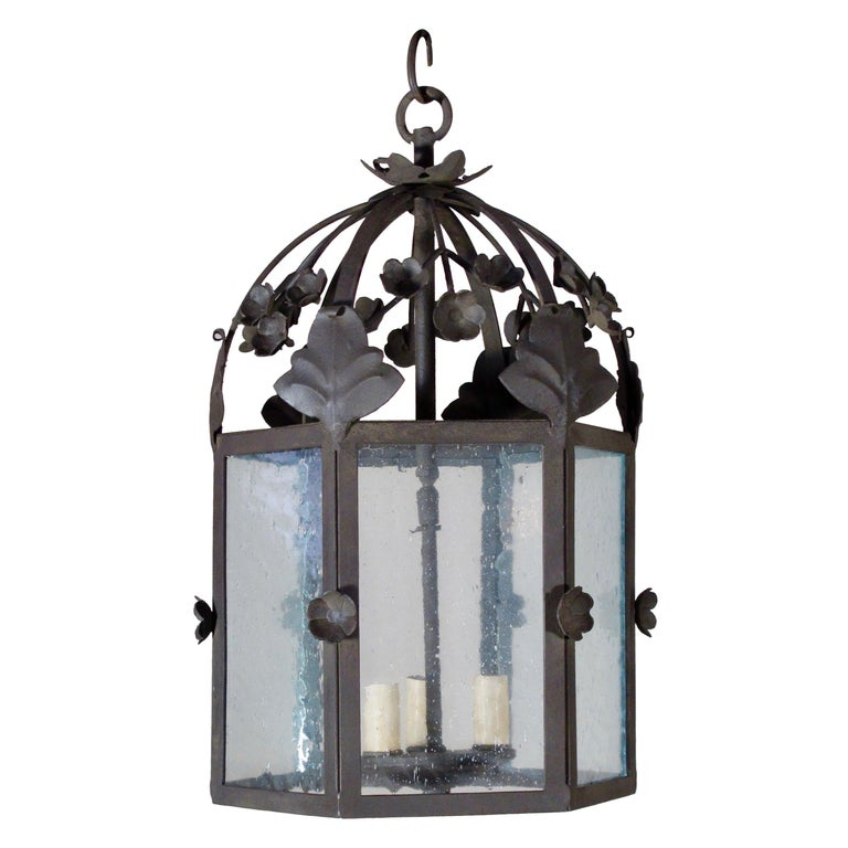 Large Floral Iron Lantern For Sale