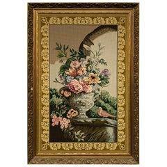 Large Floral Needlepoint Framed Art