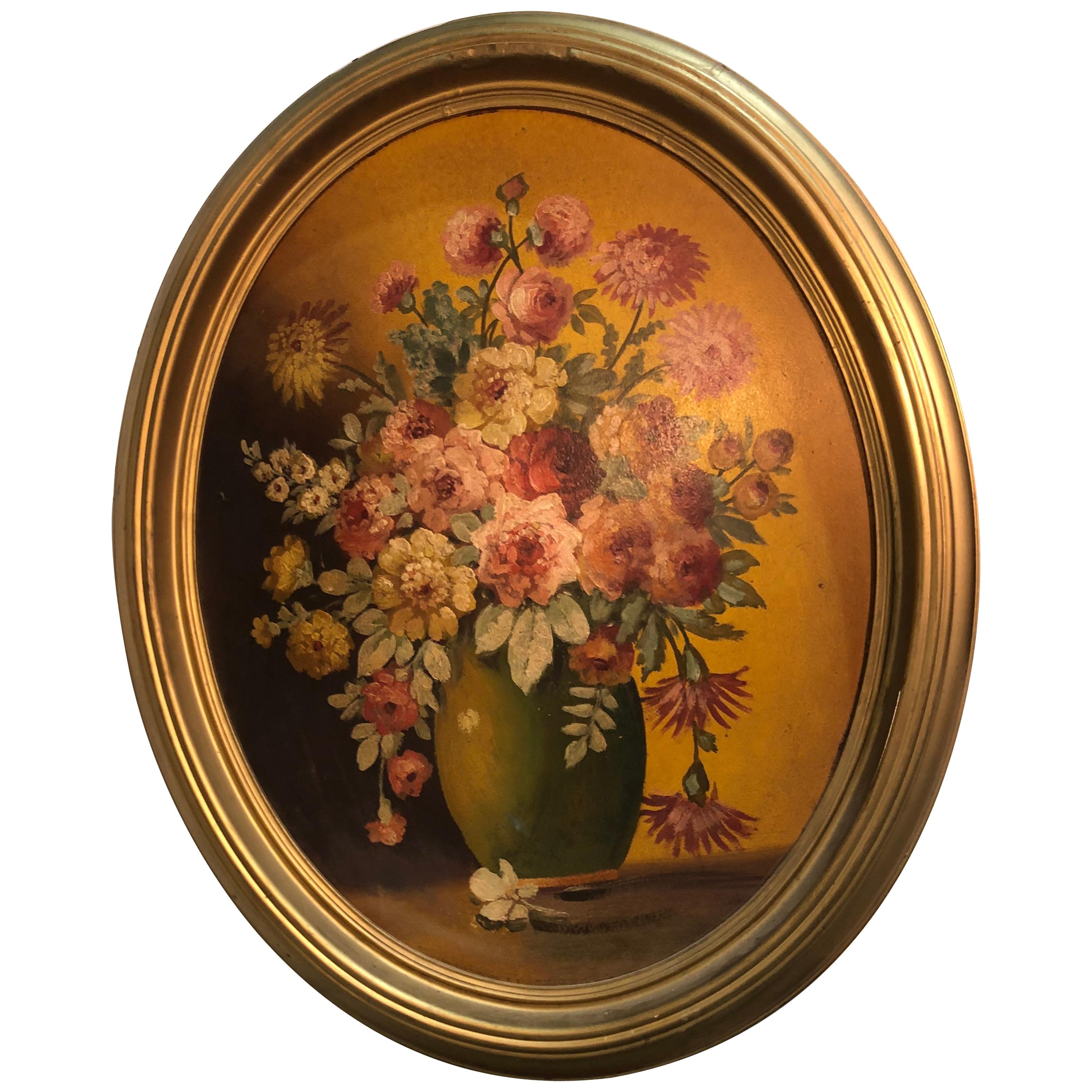 Large Floral Oval Oil on Board Still Life