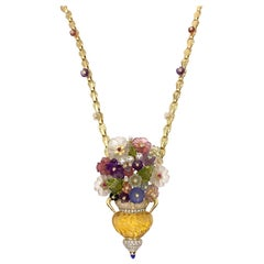 Large Floral Santagostino Gemstone and Diamond 18 Karat Pendant Necklace