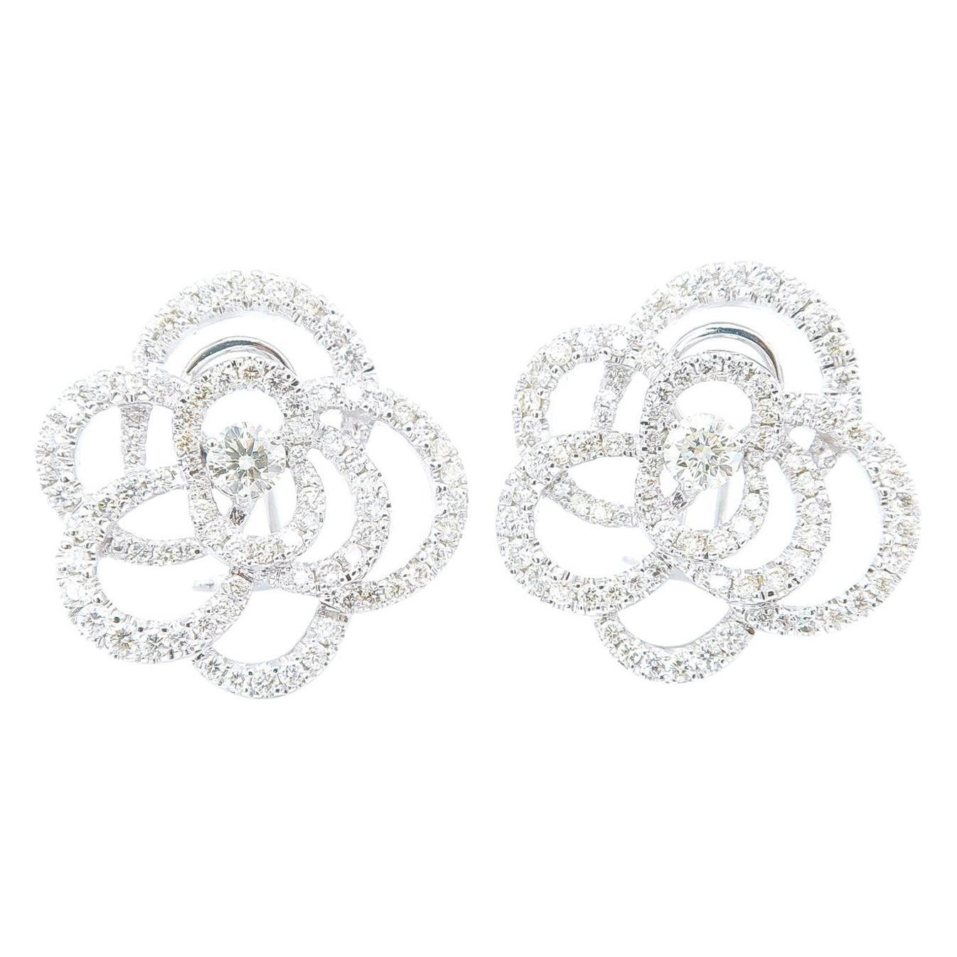 Large Floral Silhouette Diamond Clip-On Earrings in 18 Karat White Gold