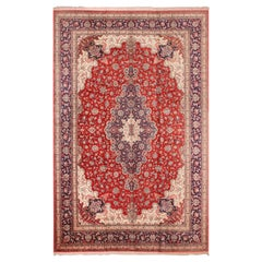Large Floral Vintage Persian Silk Qum Rug. Size: 13 ft x 19 ft 9 in
