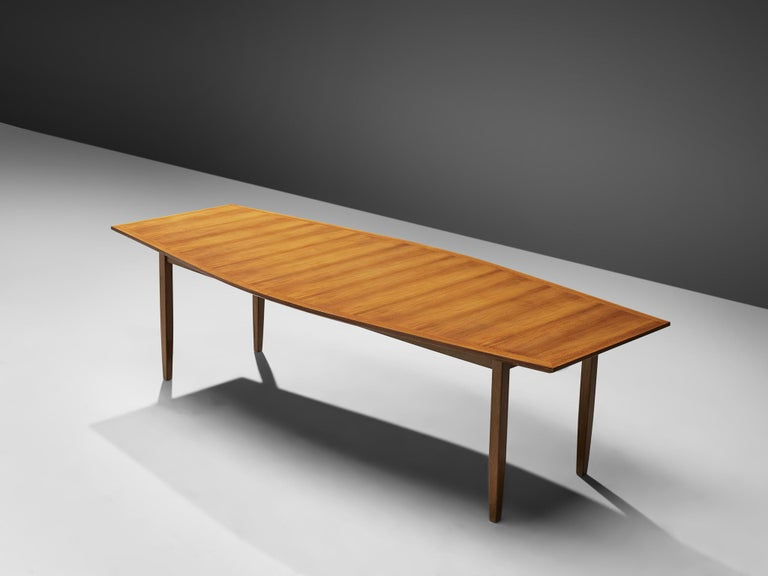 Mid-Century Modern Large Florence Knoll Boat Shaped Dining Table For Sale