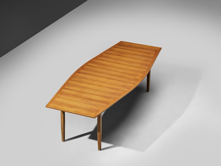 Late 20th Century Large Florence Knoll Boat Shaped Dining Table For Sale