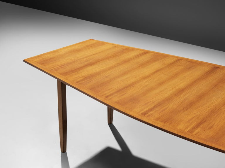 Walnut Large Florence Knoll Boat Shaped Dining Table For Sale