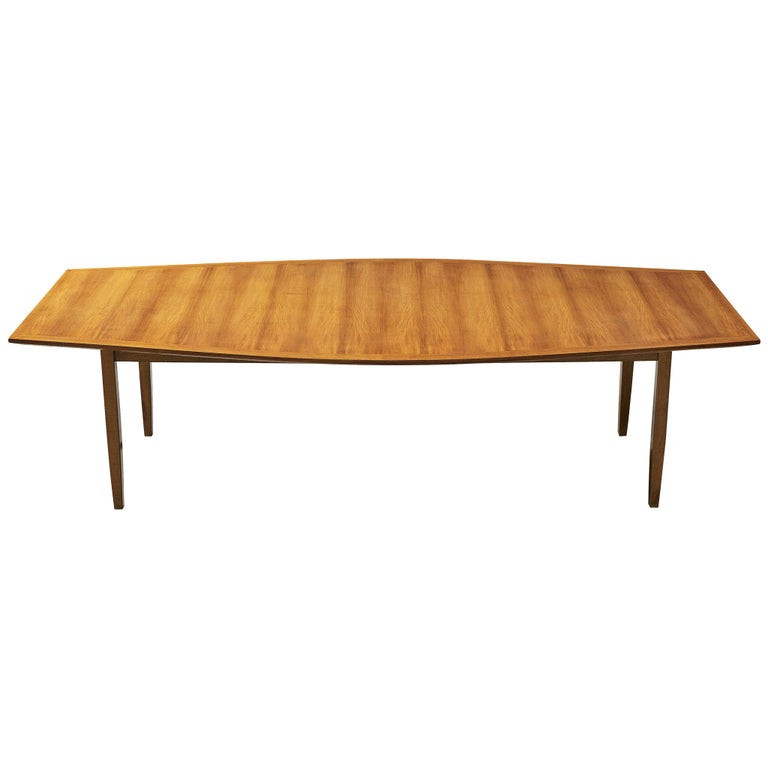 Large Florence Knoll Boat Shaped Dining Table For Sale