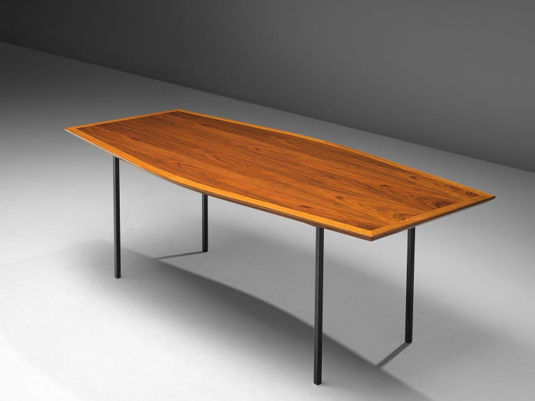 Mid-Century Modern Large Florence Knoll Boat Shaped Table For Sale