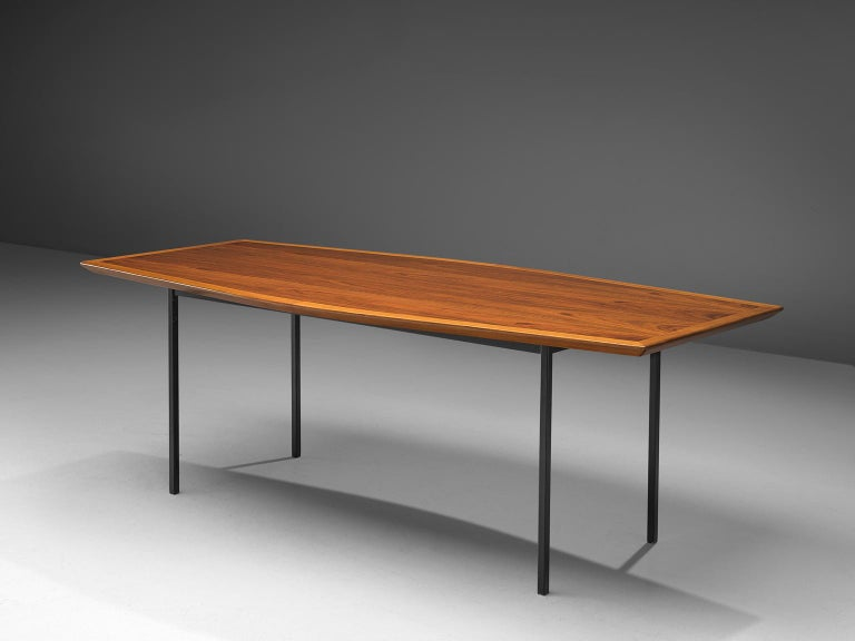 American Large Florence Knoll Boat Shaped Table For Sale