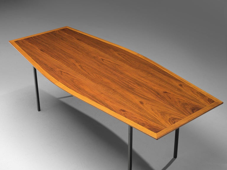 Late 20th Century Large Florence Knoll Boat Shaped Table For Sale