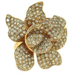 Large Flower Diamond Cocktail Ring