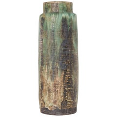 Large Flower Green Textured Floor Vase,Germany 1960s