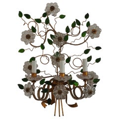 Large Flower Leaves Wall Sconce, Maison Baguès Attributed, France, circa 1950s