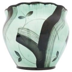 Large Flower Pot Black & Green Art Deco Vase by Ilse Claesson, Rörstrand, 1930s