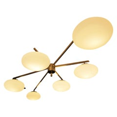 Large Flush Mount Brass and Glass Ceiling Light, Italy