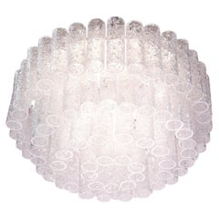 Large Flush Mount Chandelier with Murano Glass Tubes by Doria Germany, 1960s