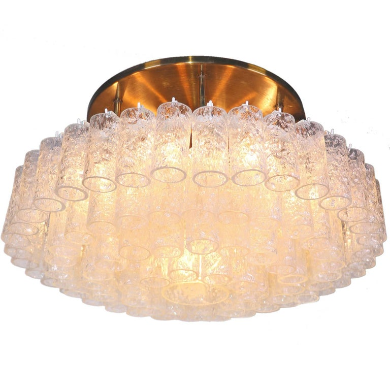 Large Flush Mount Chandelier with Murano Glass Tubes by Doria, Germany, 1960s