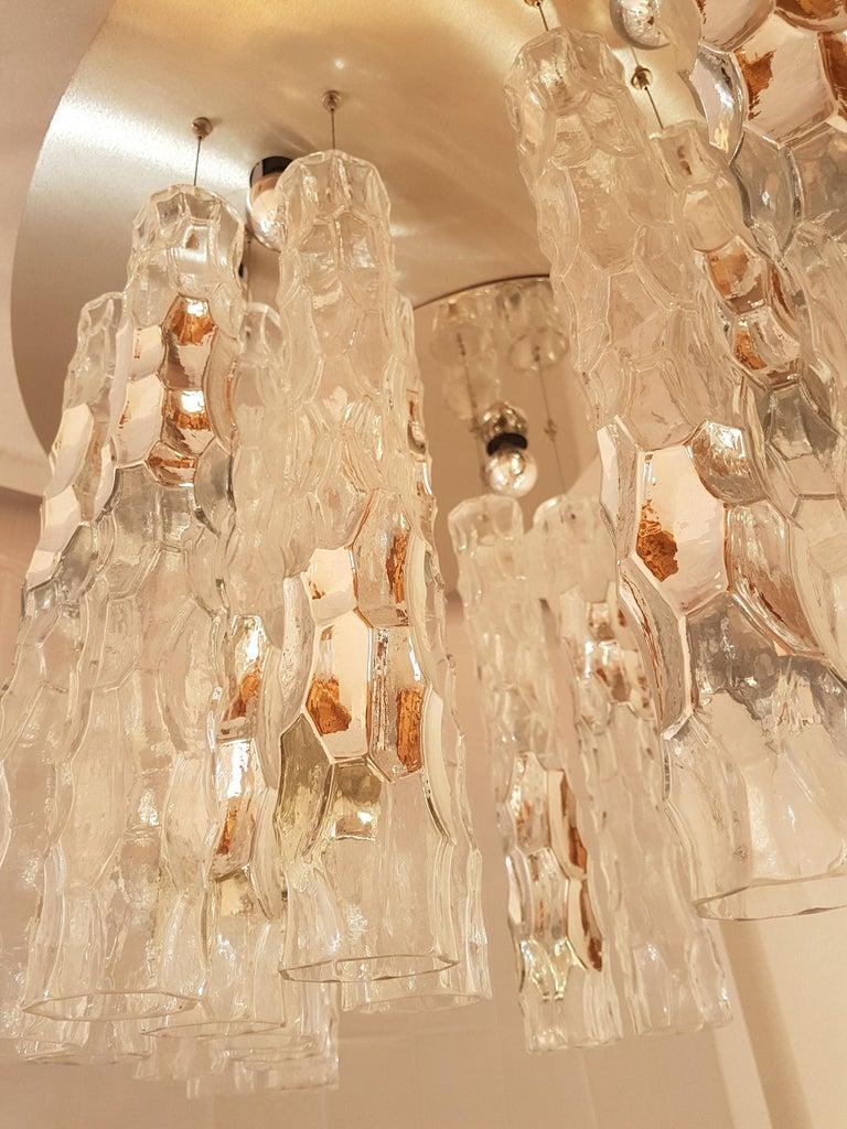 Large Flush Mount Light, W/Murano Glass, by Av Mazzega, Mid Century Modern 1970s For Sale 4