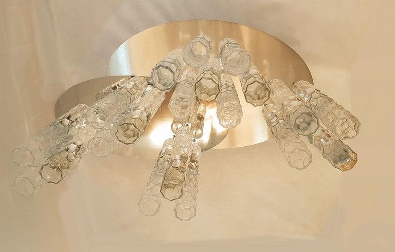 Italian Large Flush Mount Light, W/Murano Glass, by Av Mazzega, Mid Century Modern 1970s For Sale